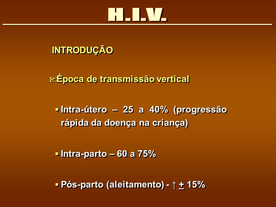 H.I.V. INTRODUÇÃO Época de transmissão vertical