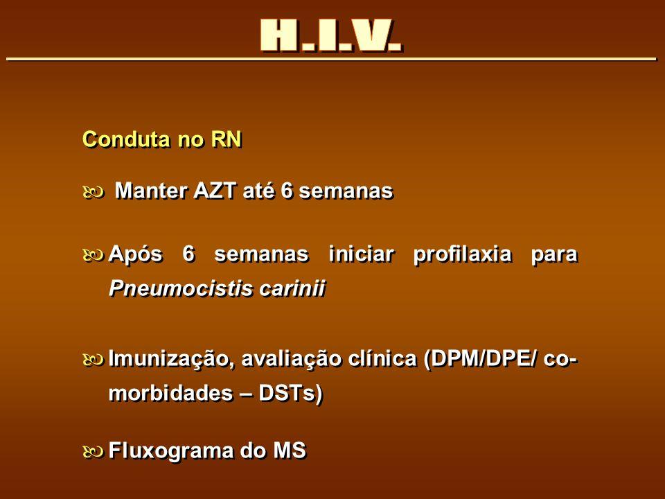 H.I.V. Conduta no RN Manter AZT até 6 semanas