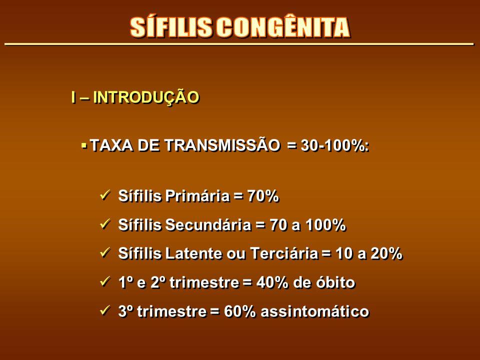 SÍFILIS CONGÊNITA I – INTRODUÇÃO TAXA DE TRANSMISSÃO = 30-100%: