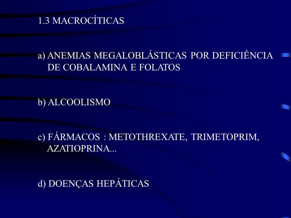 1.3 MACROCÍTICAS a) ANEMIAS MEGALOBLÁSTICAS POR DEFICIÊNCIA DE COBALAMINA E FOLATOS. b) ALCOOLISMO.