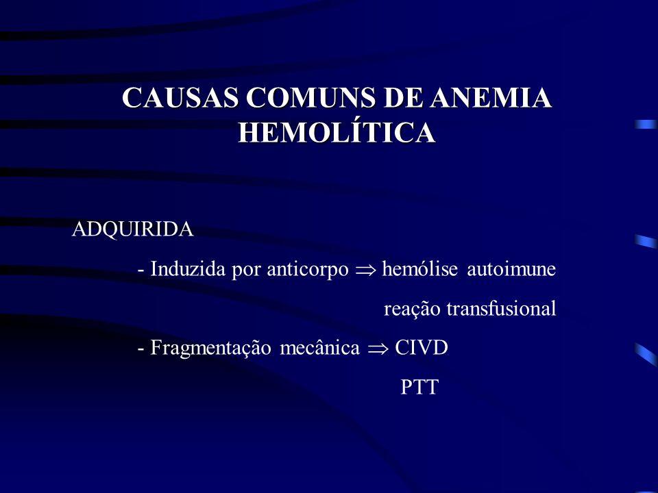 CAUSAS COMUNS DE ANEMIA HEMOLÍTICA