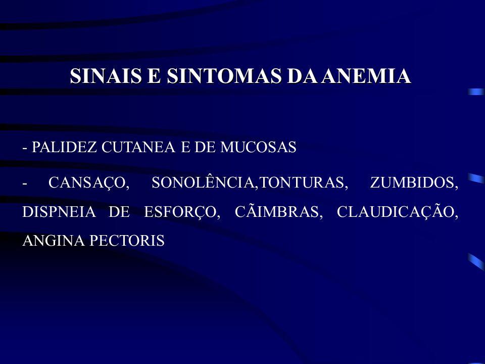 SINAIS E SINTOMAS DA ANEMIA