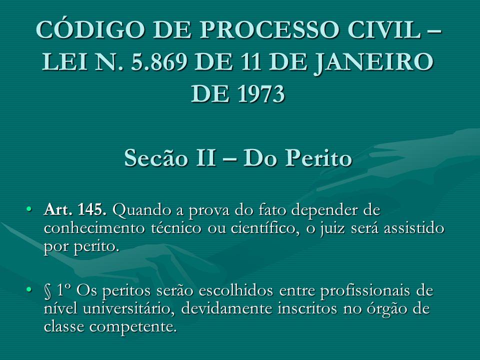CÓDIGO DE PROCESSO CIVIL – LEI N. 5