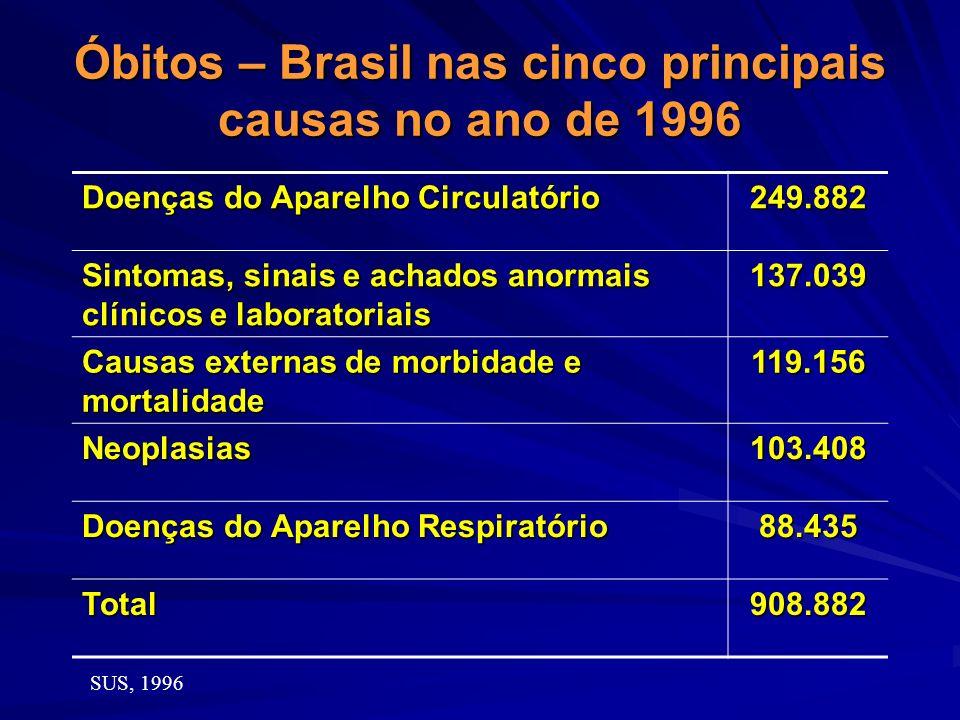 Óbitos – Brasil nas cinco principais causas no ano de 1996