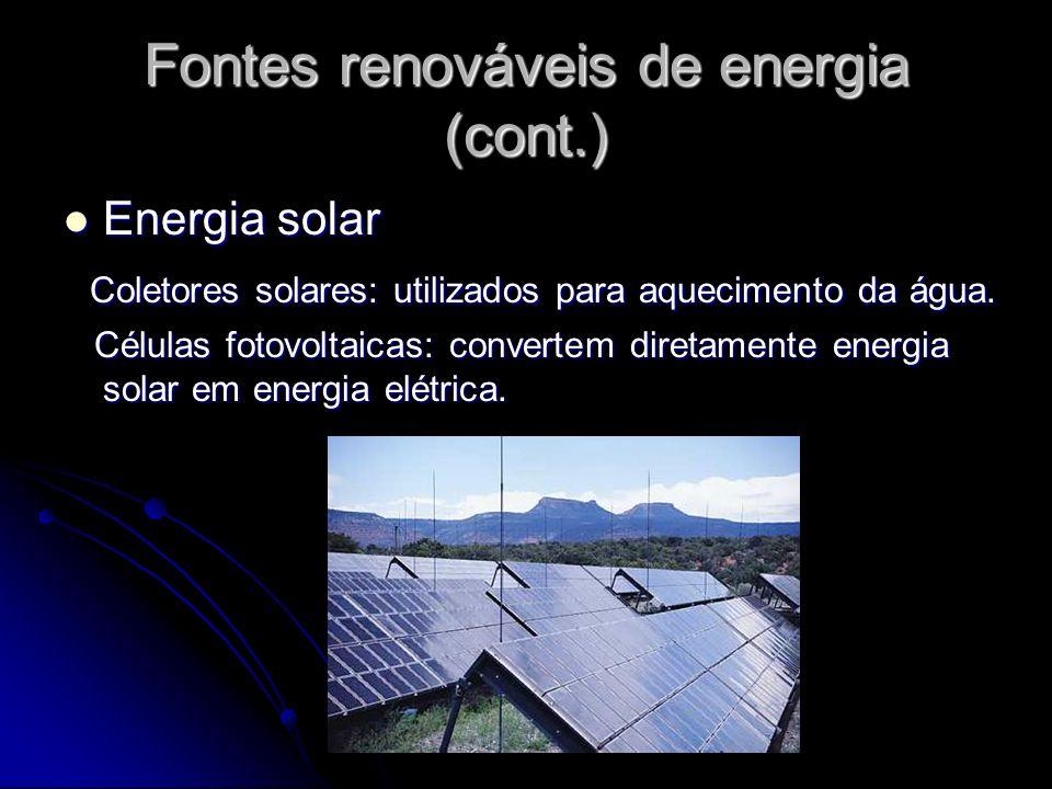 Fontes renováveis de energia (cont.)