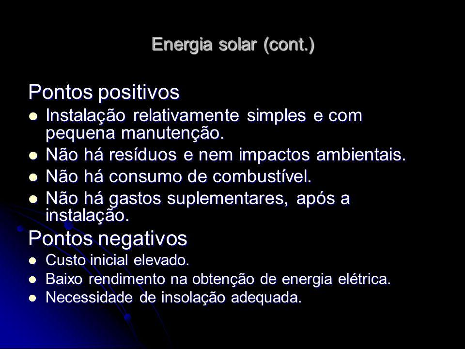 Pontos positivos Pontos negativos Energia solar (cont.)