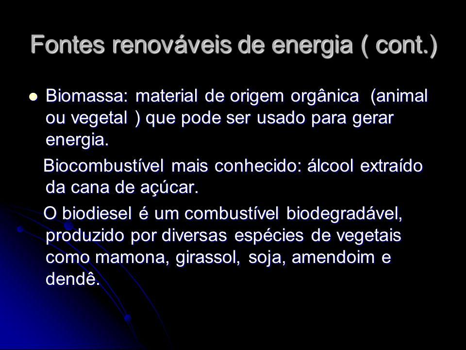 Fontes renováveis de energia ( cont.)