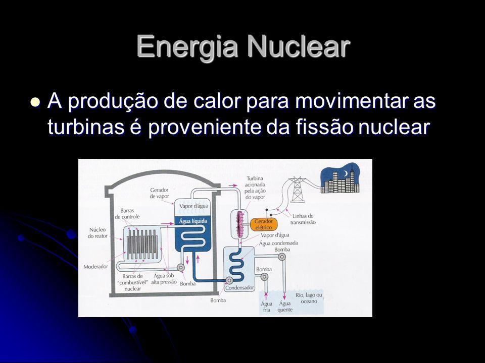 Energia Nuclear A produção de calor para movimentar as turbinas é proveniente da fissão nuclear
