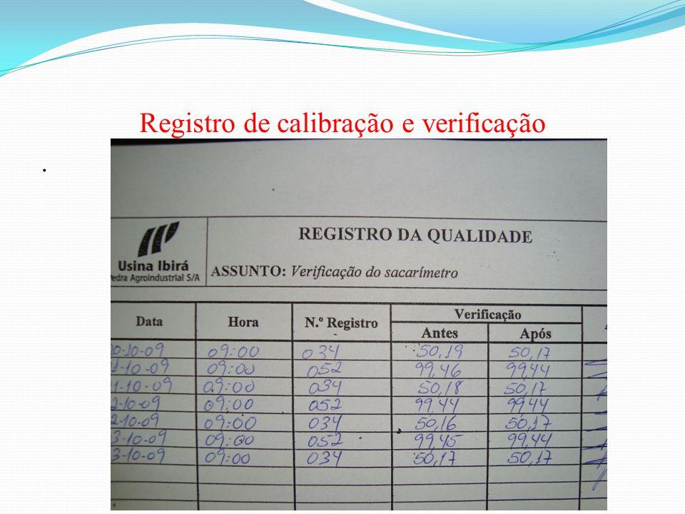 Registro de calibração e verificação
