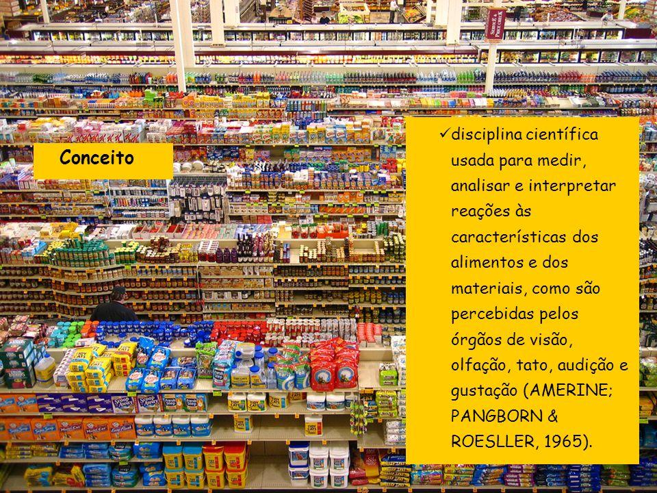 disciplina científica usada para medir, analisar e interpretar reações às características dos alimentos e dos materiais, como são percebidas pelos órgãos de visão, olfação, tato, audição e gustação (AMERINE; PANGBORN & ROESLLER, 1965).