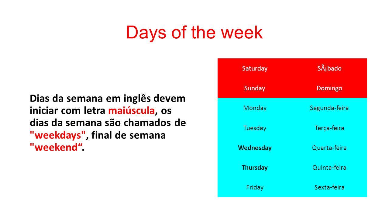 Unidade 1 Greetings (cumprimentos) Days Of The Week (Dias