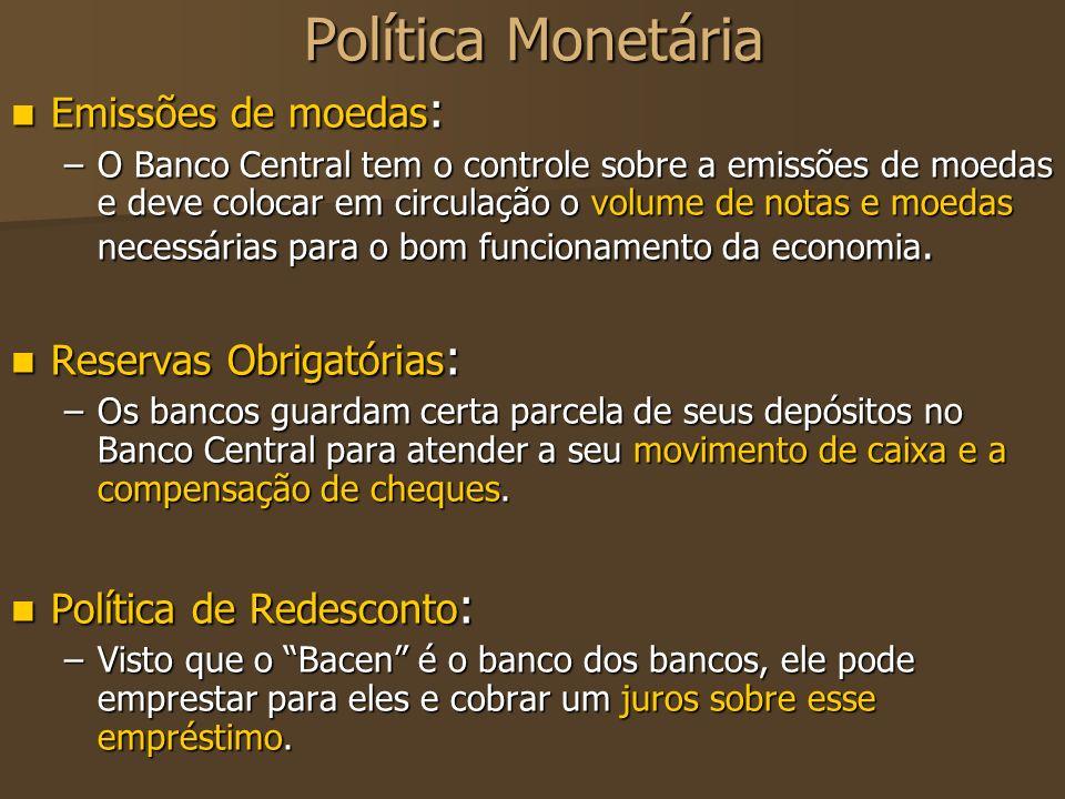 Política Monetária Emissões de moedas: Reservas Obrigatórias: