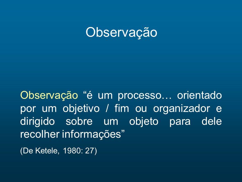 Observação Observação é um processo… orientado por um objetivo / fim ou organizador e dirigido sobre um objeto para dele recolher informações