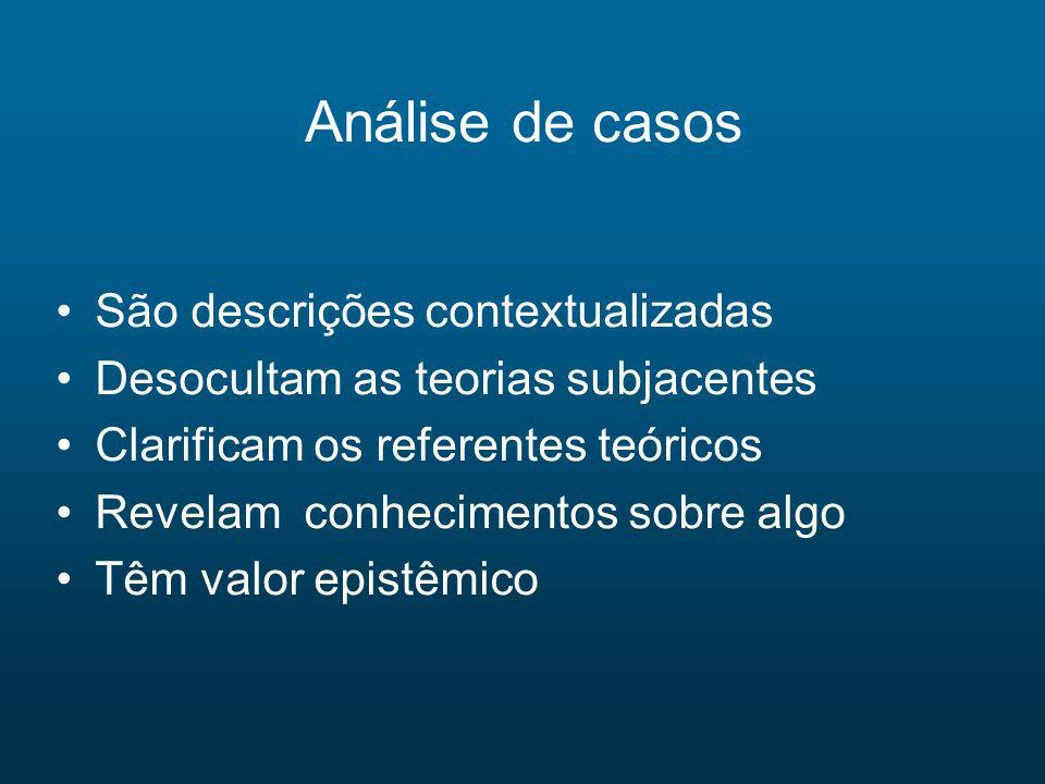 Análise de casos São descrições contextualizadas