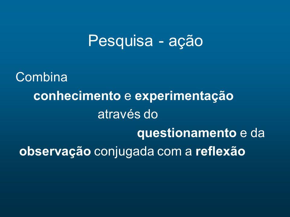 Pesquisa - ação Combina conhecimento e experimentação através do