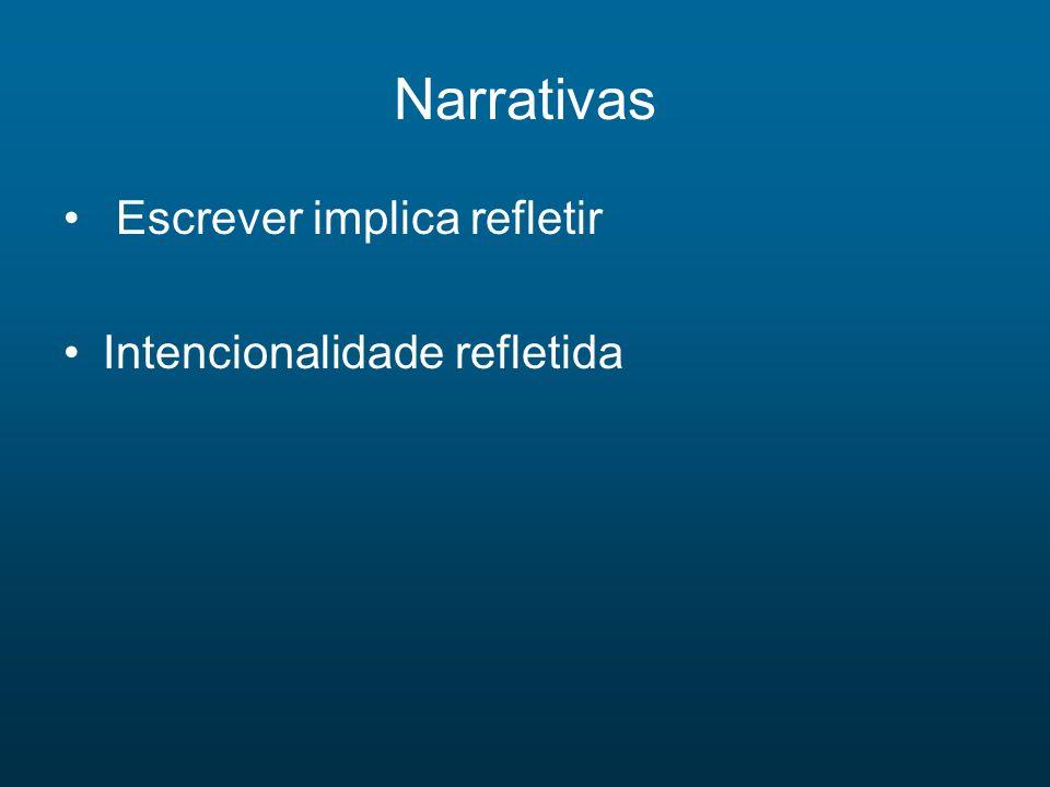 Narrativas Escrever implica refletir Intencionalidade refletida