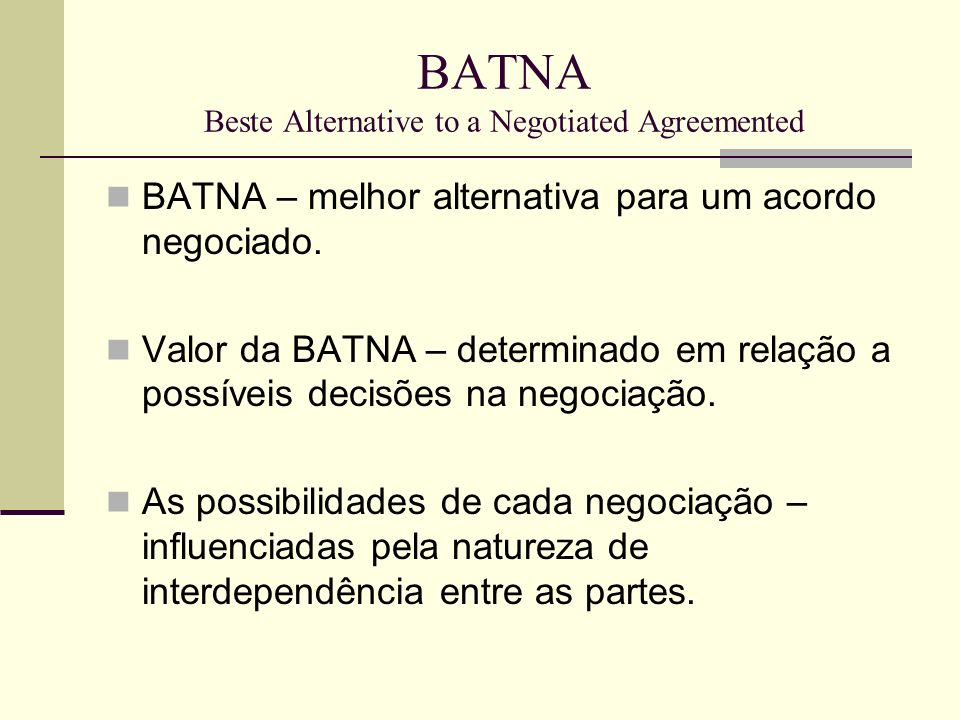 BATNA Beste Alternative to a Negotiated Agreemented
