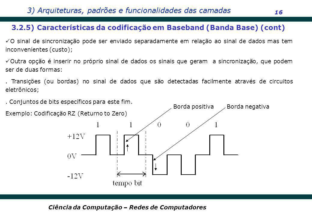 3.2.5) Características da codificação em Baseband (Banda Base) (cont)