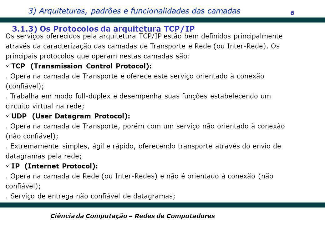 3.1.3) Os Protocolos da arquitetura TCP/IP