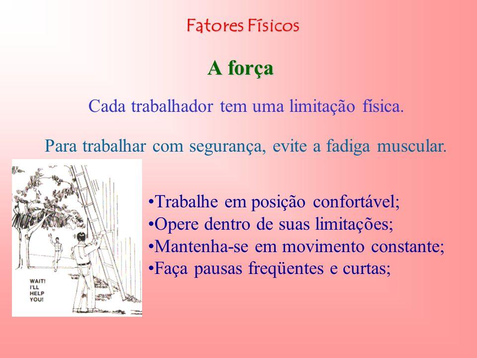 A força Fatores Físicos Cada trabalhador tem uma limitação física.
