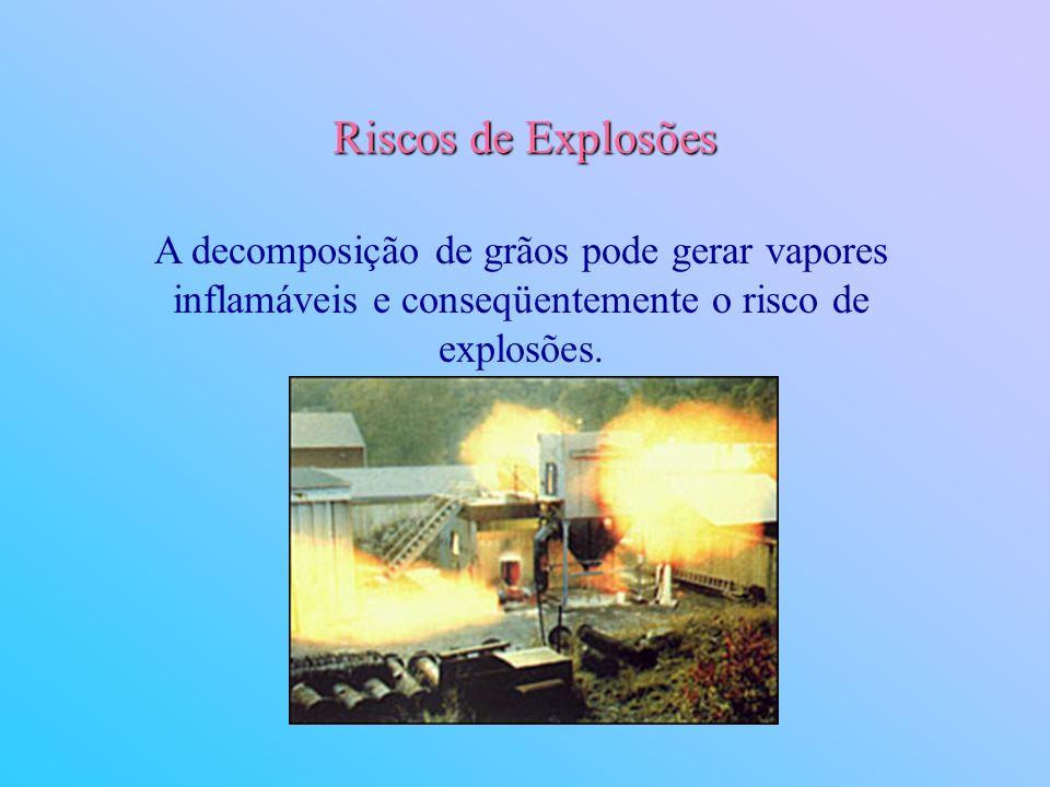 Riscos de Explosões A decomposição de grãos pode gerar vapores inflamáveis e conseqüentemente o risco de explosões.