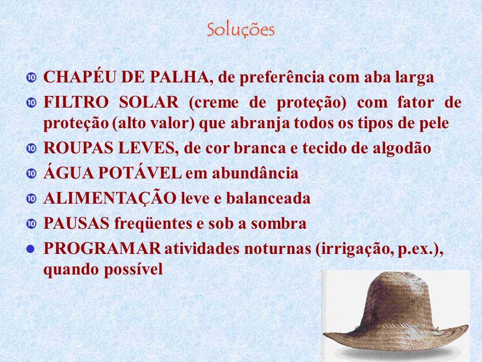 Soluções CHAPÉU DE PALHA, de preferência com aba larga