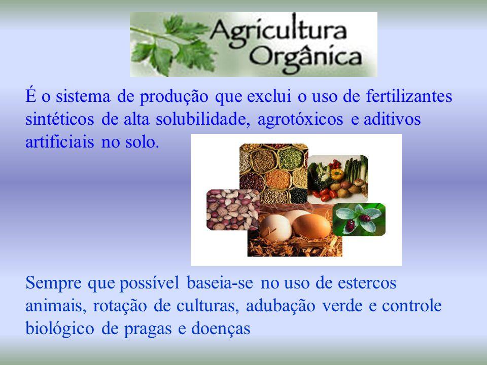É o sistema de produção que exclui o uso de fertilizantes sintéticos de alta solubilidade, agrotóxicos e aditivos artificiais no solo.