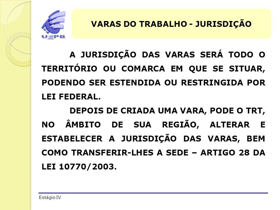 VARAS DO TRABALHO - JURISDIÇÃO