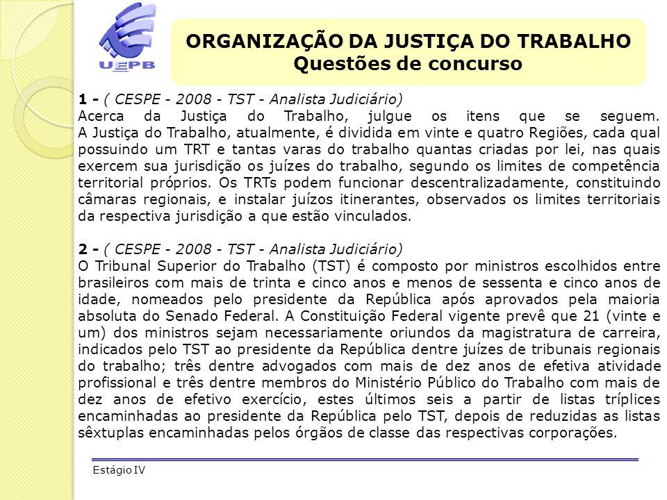 ORGANIZAÇÃO DA JUSTIÇA DO TRABALHO