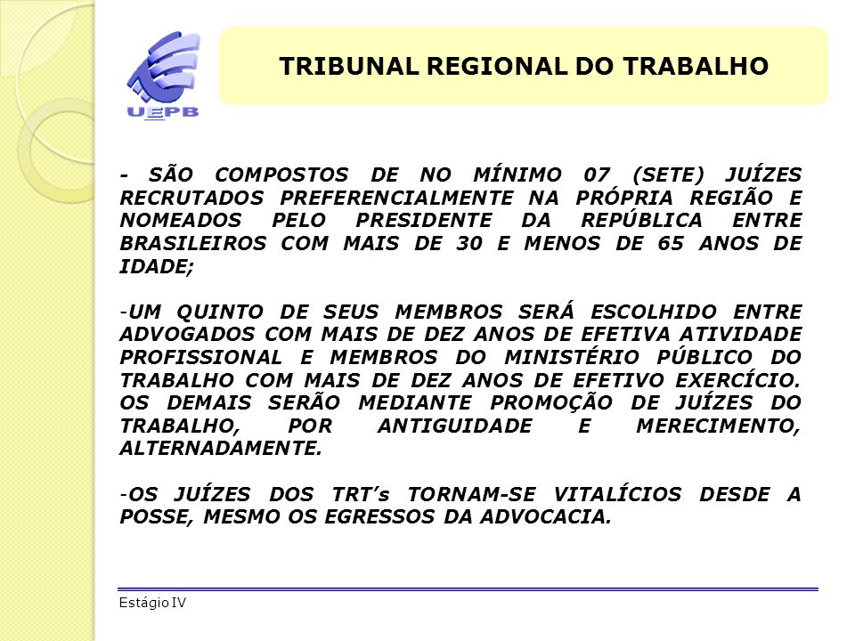 TRIBUNAL REGIONAL DO TRABALHO
