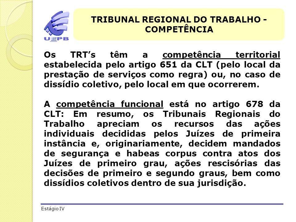 TRIBUNAL REGIONAL DO TRABALHO - COMPETÊNCIA