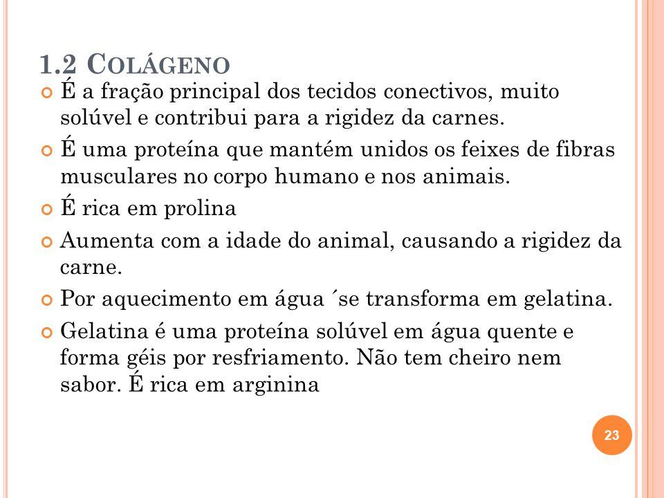 1.2 Colágeno É a fração principal dos tecidos conectivos, muito solúvel e contribui para a rigidez da carnes.