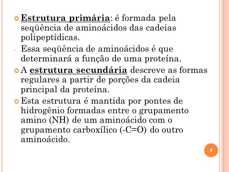 Estrutura primária: é formada pela seqüência de aminoácidos das cadeias polipeptídicas.