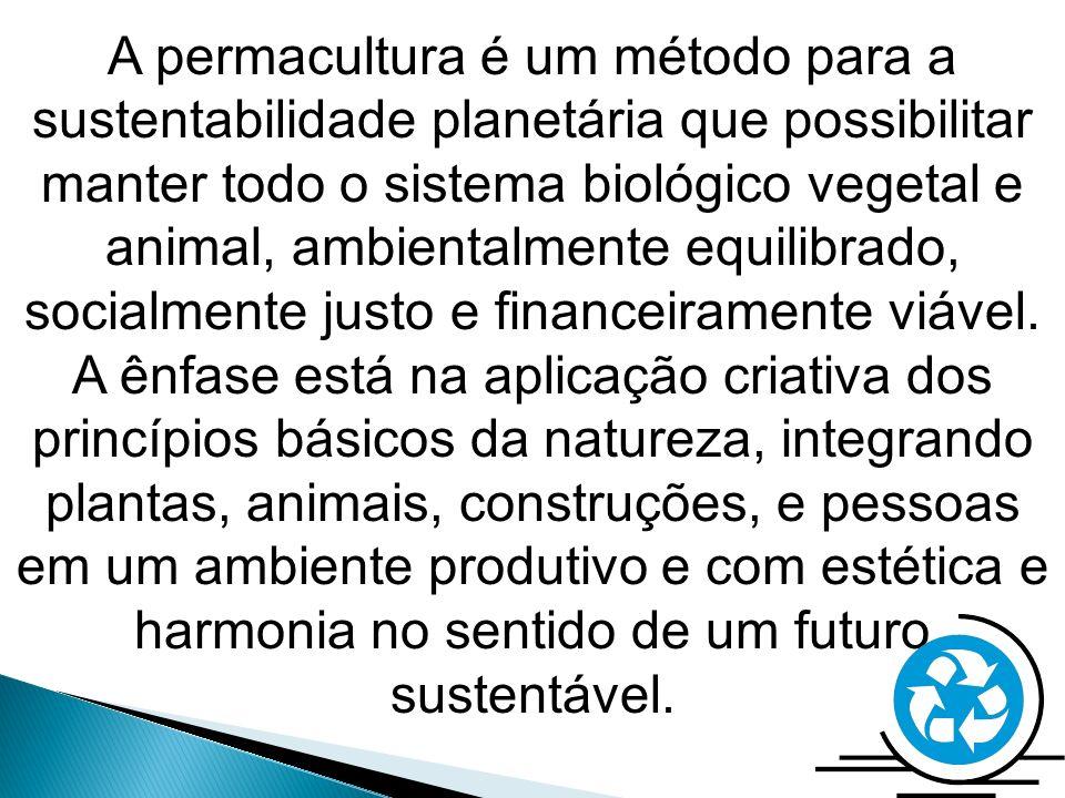 A permacultura é um método para a sustentabilidade planetária que possibilitar manter todo o sistema biológico vegetal e animal, ambientalmente equilibrado, socialmente justo e financeiramente viável.