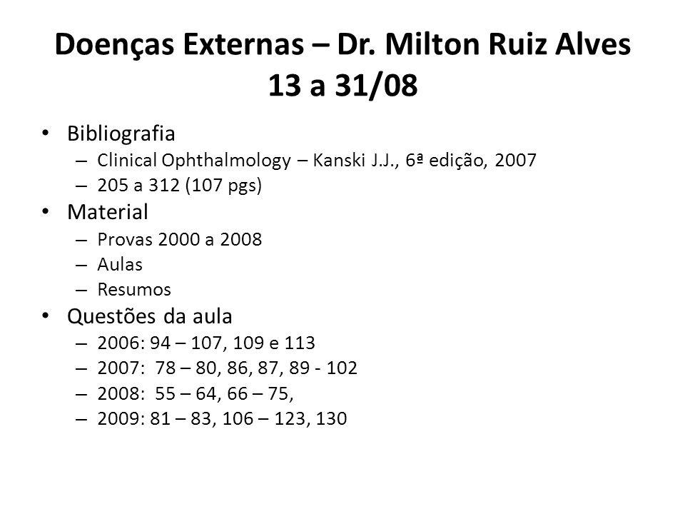 Doenças Externas – Dr. Milton Ruiz Alves 13 a 31/08