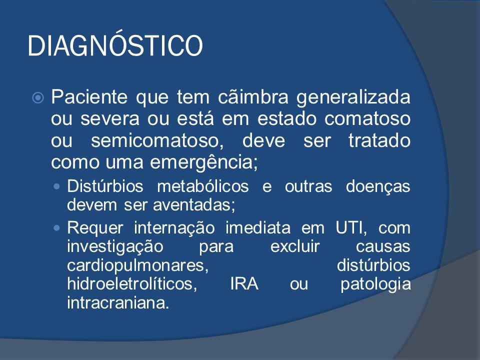 DIAGNÓSTICO Paciente que tem cãimbra generalizada ou severa ou está em estado comatoso ou semicomatoso, deve ser tratado como uma emergência;