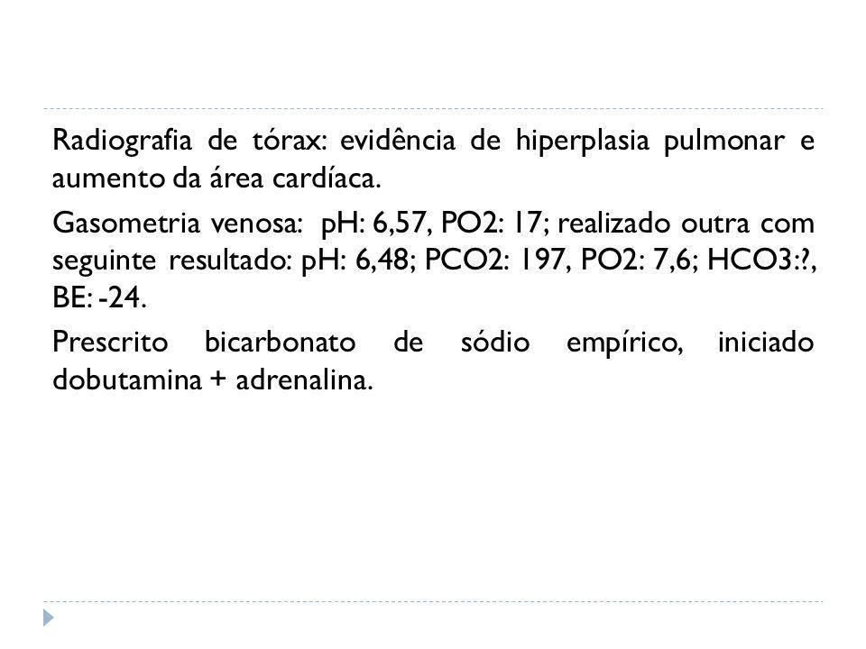 Radiografia de tórax: evidência de hiperplasia pulmonar e aumento da área cardíaca.