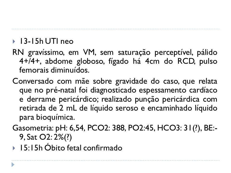13-15h UTI neoRN gravíssimo, em VM, sem saturação perceptível, pálido 4+/4+, abdome globoso, fígado há 4cm do RCD, pulso femorais diminuídos.