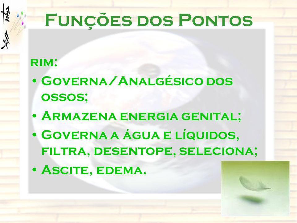 Funções dos Pontos rim: Governa/Analgésico dos ossos;