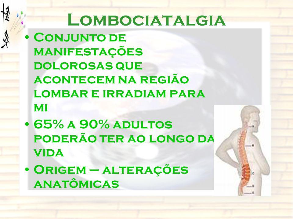 Lombociatalgia Conjunto de manifestações dolorosas que acontecem na região lombar e irradiam para mi.
