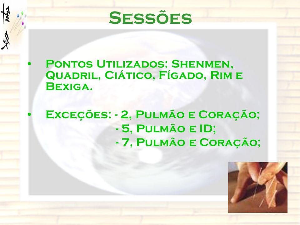 Sessões Pontos Utilizados: Shenmen, Quadril, Ciático, Fígado, Rim e Bexiga. Exceções: - 2, Pulmão e Coração;