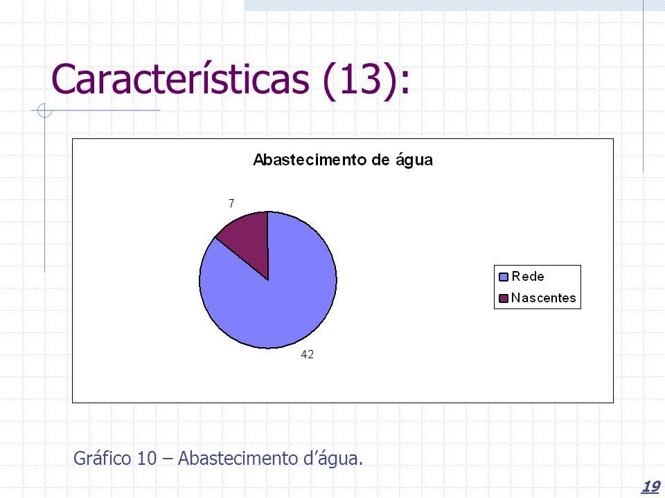 Características (13): Gráfico 10 – Abastecimento d'água.