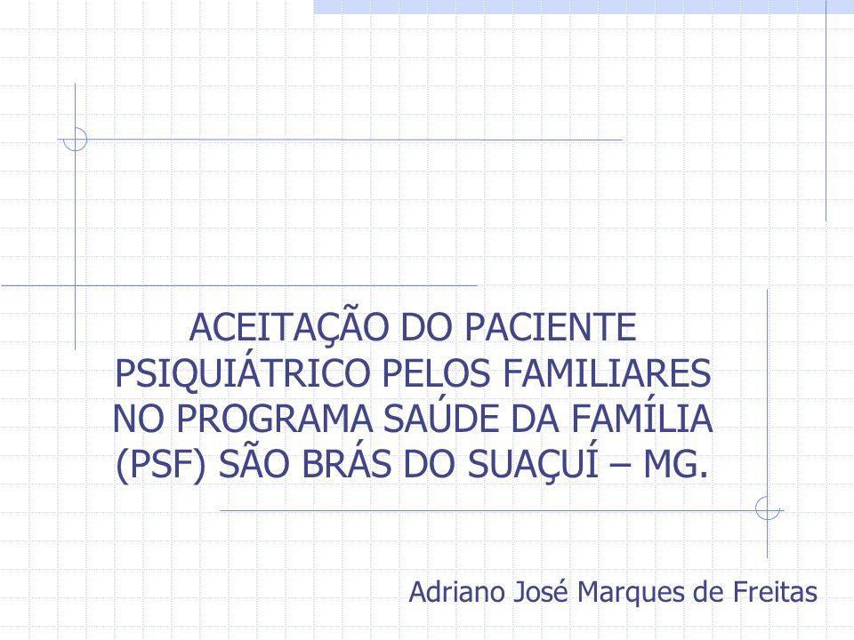 ACEITAÇÃO DO PACIENTE PSIQUIÁTRICO PELOS FAMILIARES NO PROGRAMA SAÚDE DA FAMÍLIA (PSF) SÃO BRÁS DO SUAÇUÍ – MG.