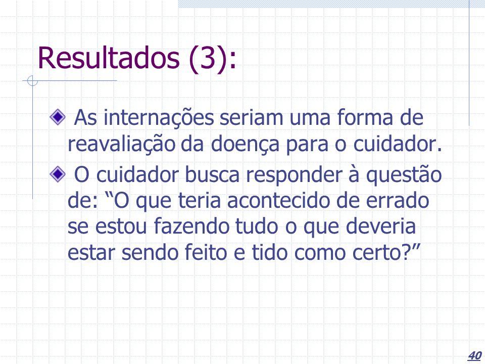 Resultados (3): As internações seriam uma forma de reavaliação da doença para o cuidador.