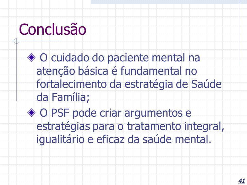 Conclusão O cuidado do paciente mental na atenção básica é fundamental no fortalecimento da estratégia de Saúde da Família;