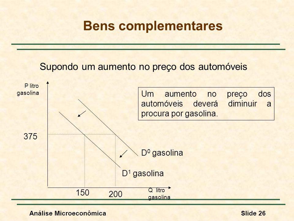Bens complementares Supondo um aumento no preço dos automóveis