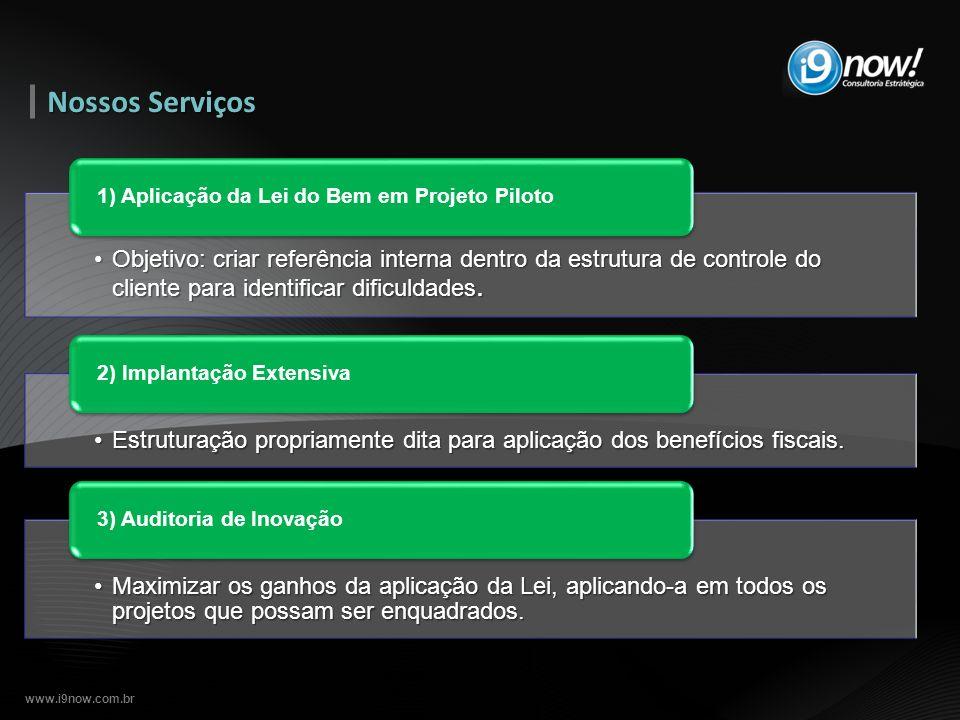 Nossos Serviços 1) Aplicação da Lei do Bem em Projeto Piloto.