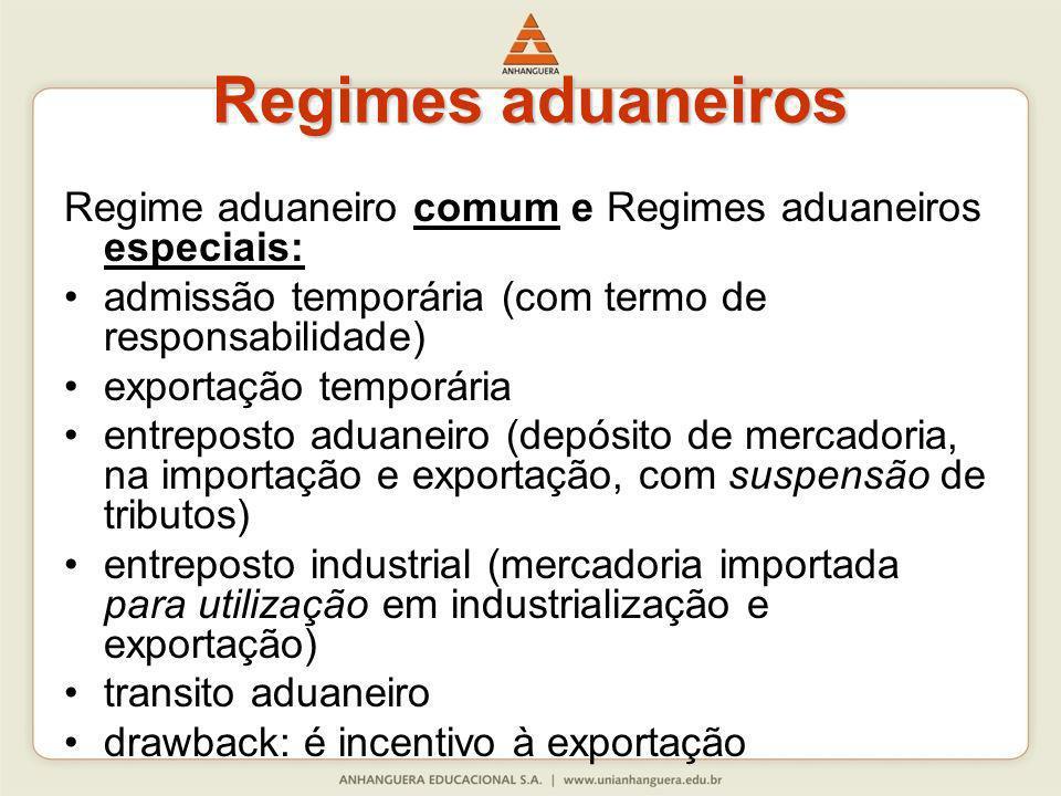 Regimes aduaneiros Regime aduaneiro comum e Regimes aduaneiros especiais: admissão temporária (com termo de responsabilidade)