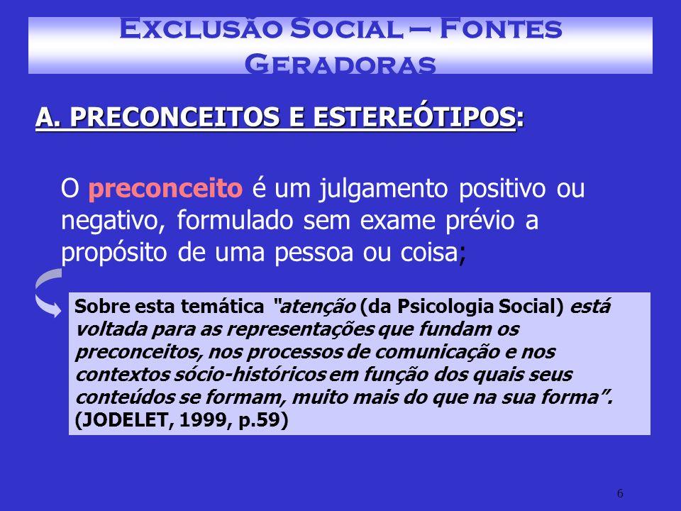 Exclusão Social – Fontes Geradoras