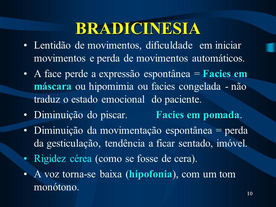 BRADICINESIA Lentidão de movimentos, dificuldade em iniciar movimentos e perda de movimentos automáticos.